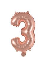 Amscan folieballon rose goud cijfer 3 40 cm