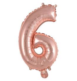 Amscan folieballon rose goud cijfer 6 40 cm