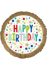 Amscan folieballon happy birthday gold satin marquee 45 cm