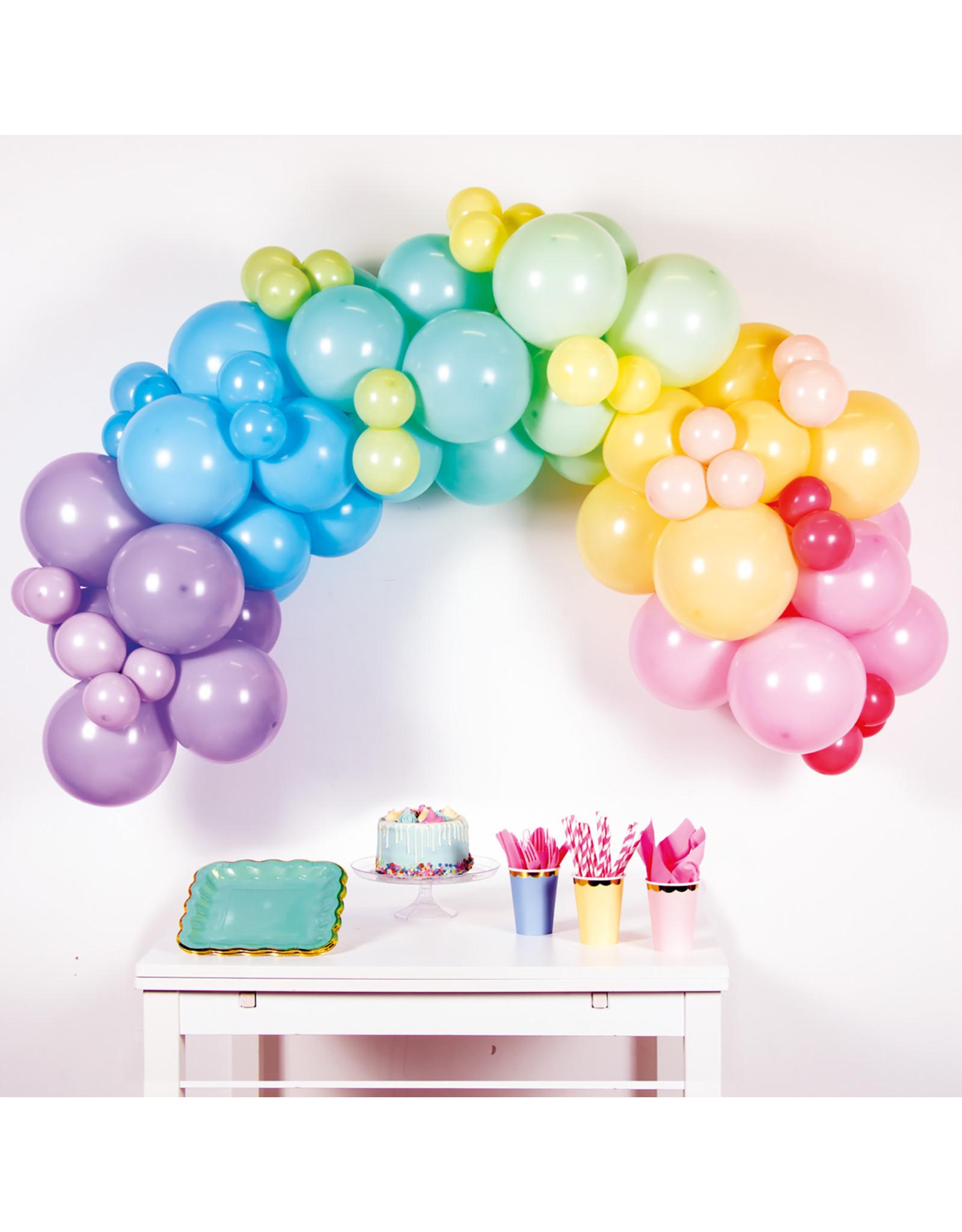 Ballonnenboogset DIY pastel regenboog 78 ballonnen