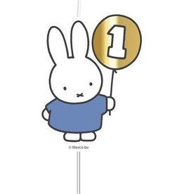 Nijntje 1e verjaardag kaars blauw/goud
