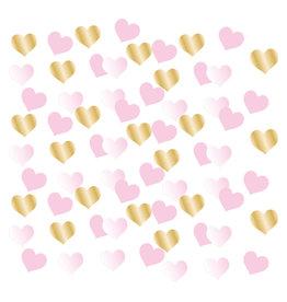 Amscan 1e verjaardag hart confetti baby roze/goud 14 gram