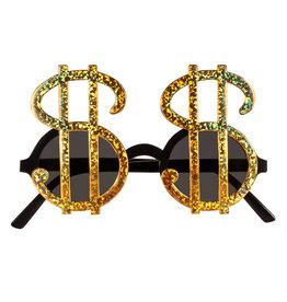 Boland partybril dollartekens zwart/goud