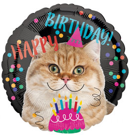Amscan folieballon happy birthday cat 43 cm