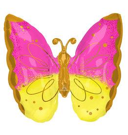 Amscan folieballon supershape vlinder geel/roze/goud 63 x 63 cm