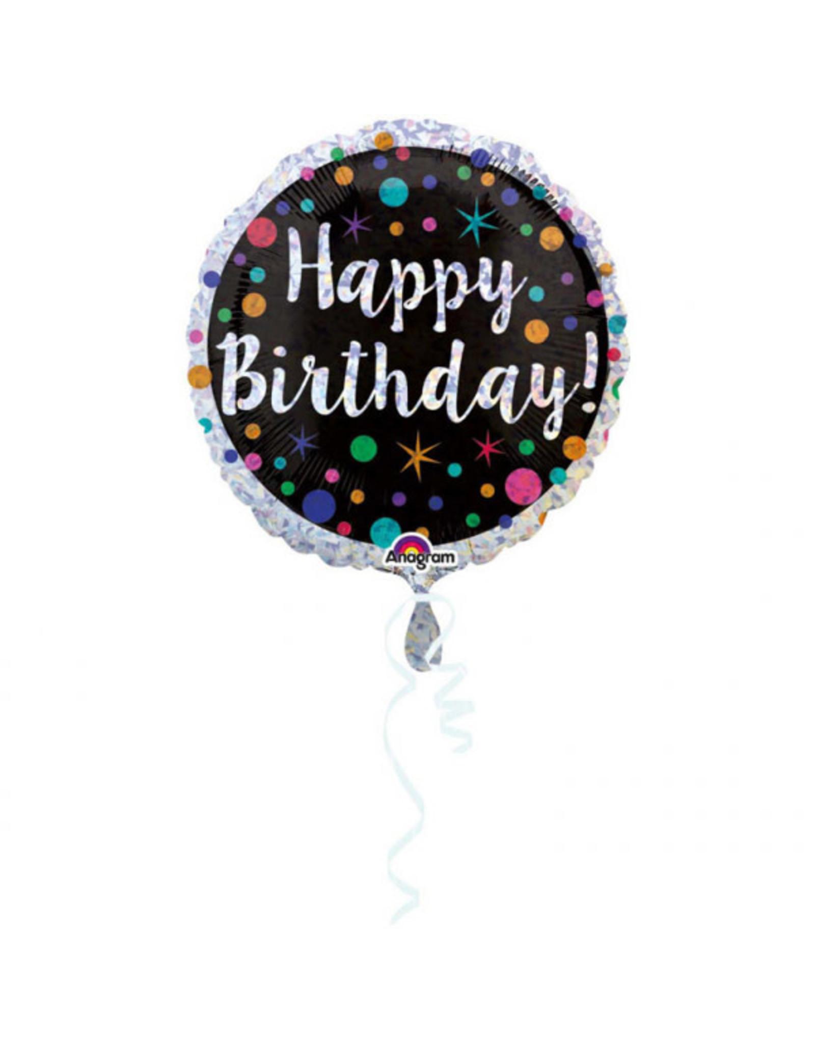 Amscan folieballon polka dot birthday 45 cm