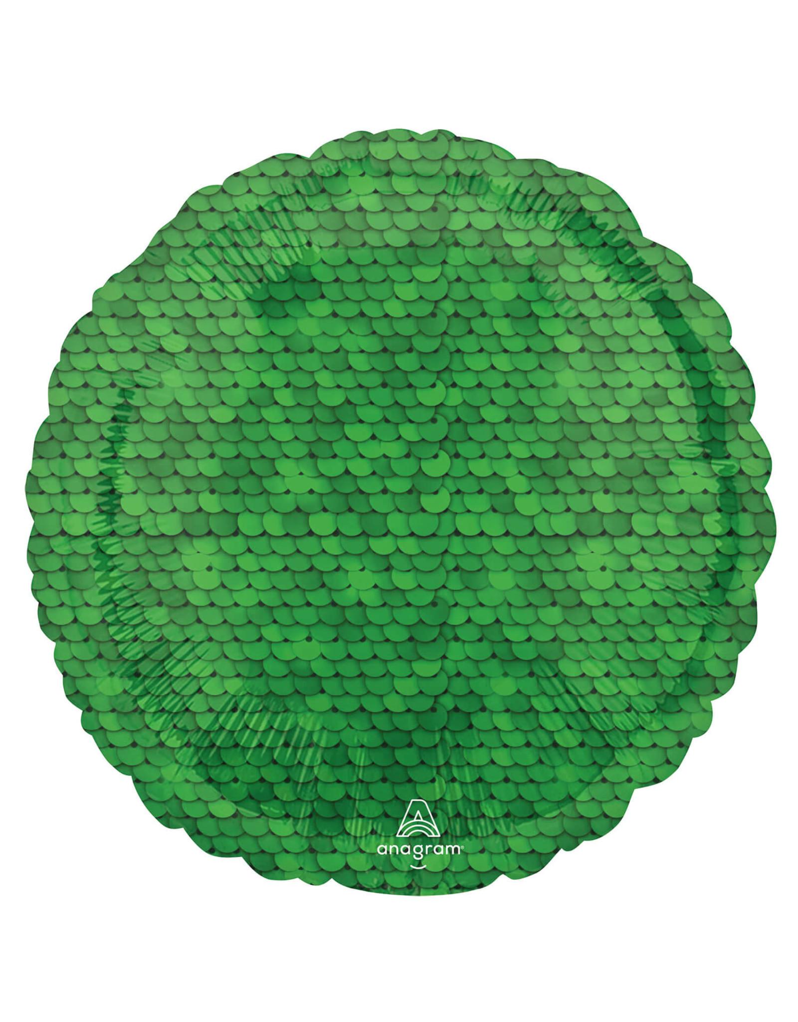 Amscan folieballon rond sequins groen 43 cm