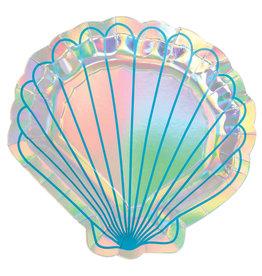 Amscan mermaid wishes borden iriscedent schelpvormig 8 stuks