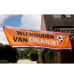 Polyester banner wij houden van oranje 220 x 74 cm