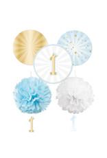 Amscan 1e verjaardag decoratie set blauw/goud 5-delig