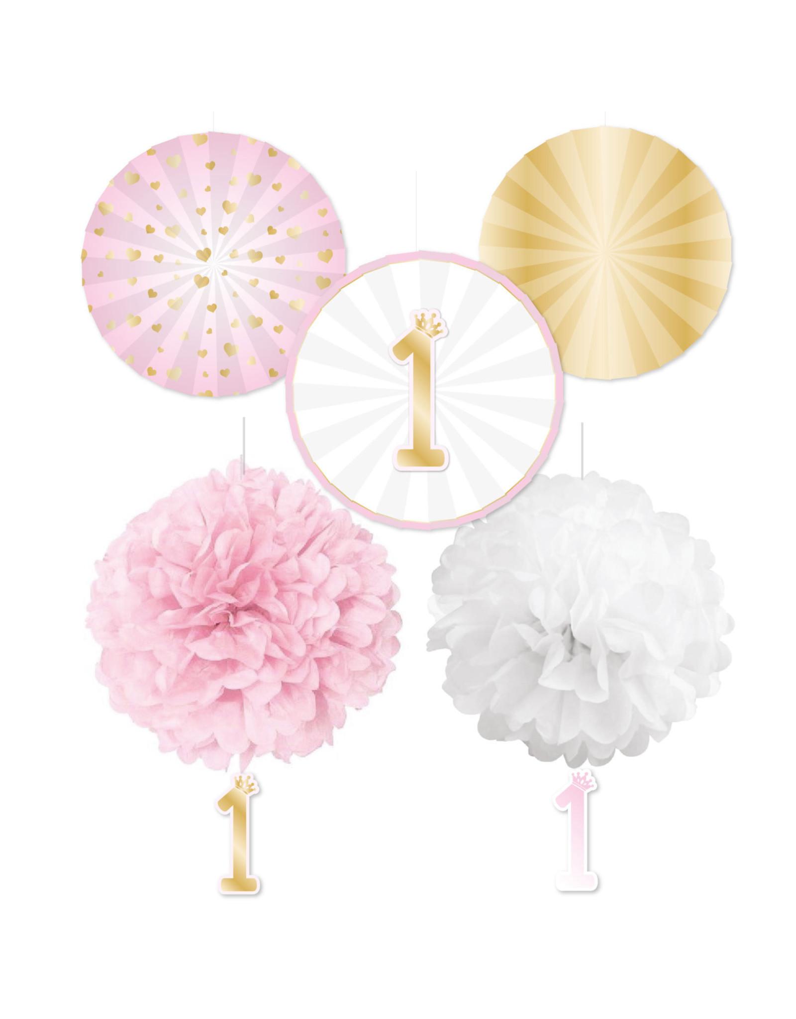 Amscan 1e verjaardag decoratie set roze/goud 5-delig