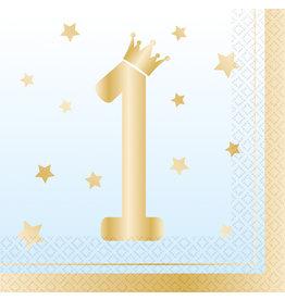 Amscan 1e verjaardag servetten blauw/goud 16 stuks