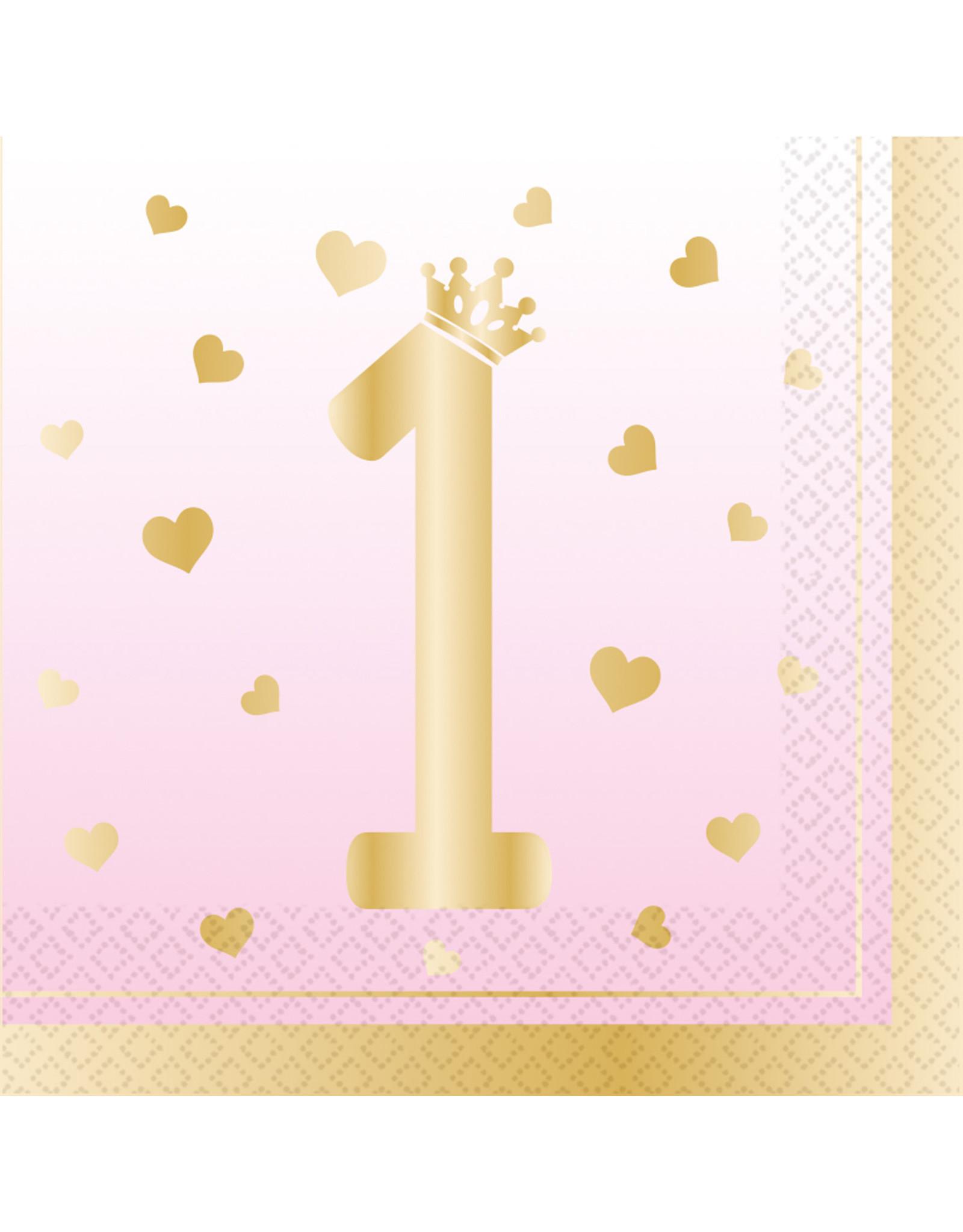 Amscan 1e verjaardag servetten roze/goud 16 stuks