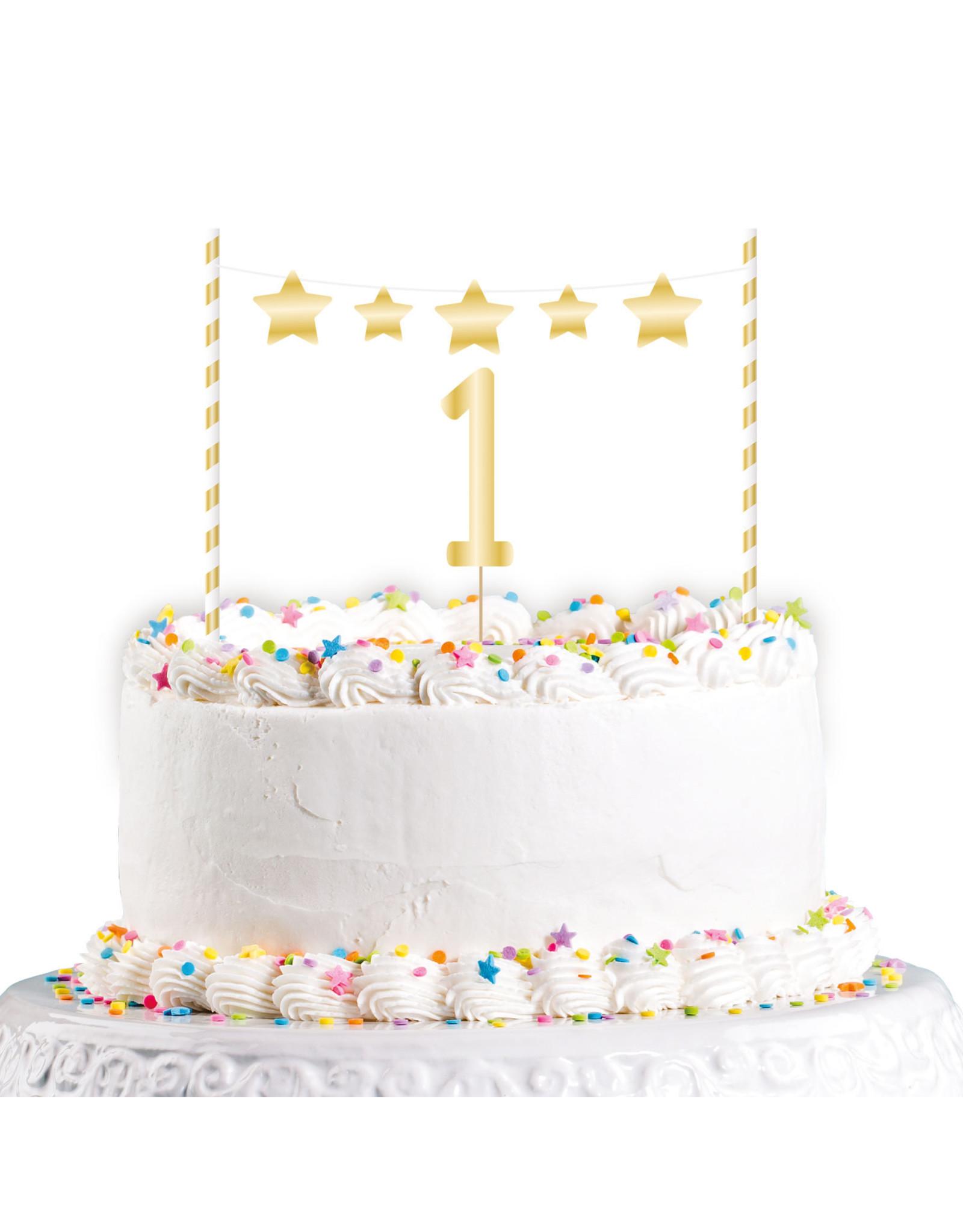 Amscan 1e verjaardag taarttopper goud