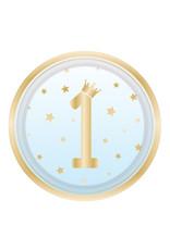Amscan 1e verjaardag borden blauw/goud 23 cm 8 stuks
