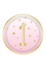 Amscan 1e verjaardag borden roze/goud 23 cm 8 stuks