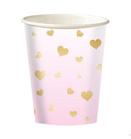 Amscan 1e verjaardag bekers pastel roze + gouden hartjes 8 stuks