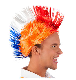 Boland pruik spiky mike rood wit blauw