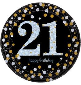 Amscan sparkling borden 21 jaar zwart zilver 8 stuks