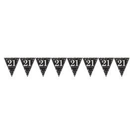 Amscan sparkling vlaggenlijn 21 jaar zwart zilver 4 meter