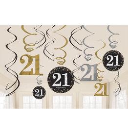 Amscan sparkling hangdecoratie 21jaar 12-delig