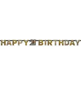 Amscan sparkling letterslinger 21 jaar goud zilver