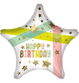 Amscan folieballon ster happy birthday gold stars 48 cm