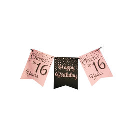 Party flag banner rose gold/black cheers to 16 years 6 meter