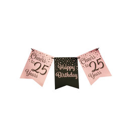 Party flag banner rose gold/black cheers to 25 years 6 meter