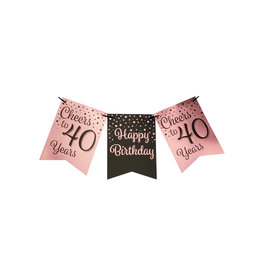 Party flag banner rose gold/black cheers to 40 years 6 meter