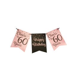 Party flag banner rose gold/black cheers to 60 years 6 meter