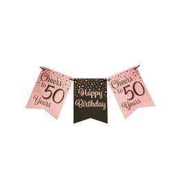 Party flag banner rose gold/black cheers to 50 years 6 meter