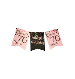 Party flag banner rose gold/black cheers to 70 years 6 meter