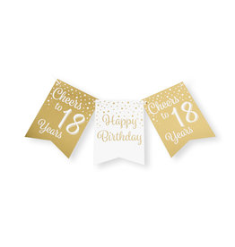 Party flag banner gold & white cheers to 18 years 6 meter