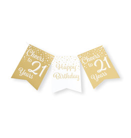 Party flag banner gold & white cheers to 21 years 6 meter