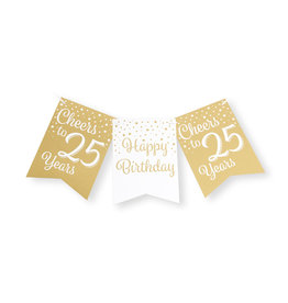 Party flag banner gold & white cheers to 25 years 6 meter