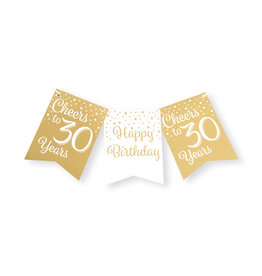 Party flag banner gold & white cheers to 30 years 6 meter
