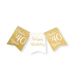 Party flag banner gold & white cheers to 40 years 6 meter