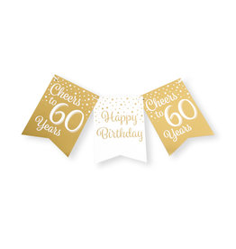 Party flag banner gold & white cheers to 60 years 6 meter