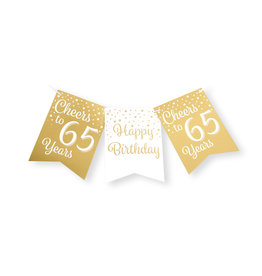 Party flag banner gold & white cheers to 65 years 6 meter
