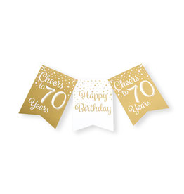 Party flag banner gold & white cheers to 70 years 6 meter