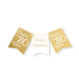 Party flag banner gold & white cheers to 80 years 6 meter