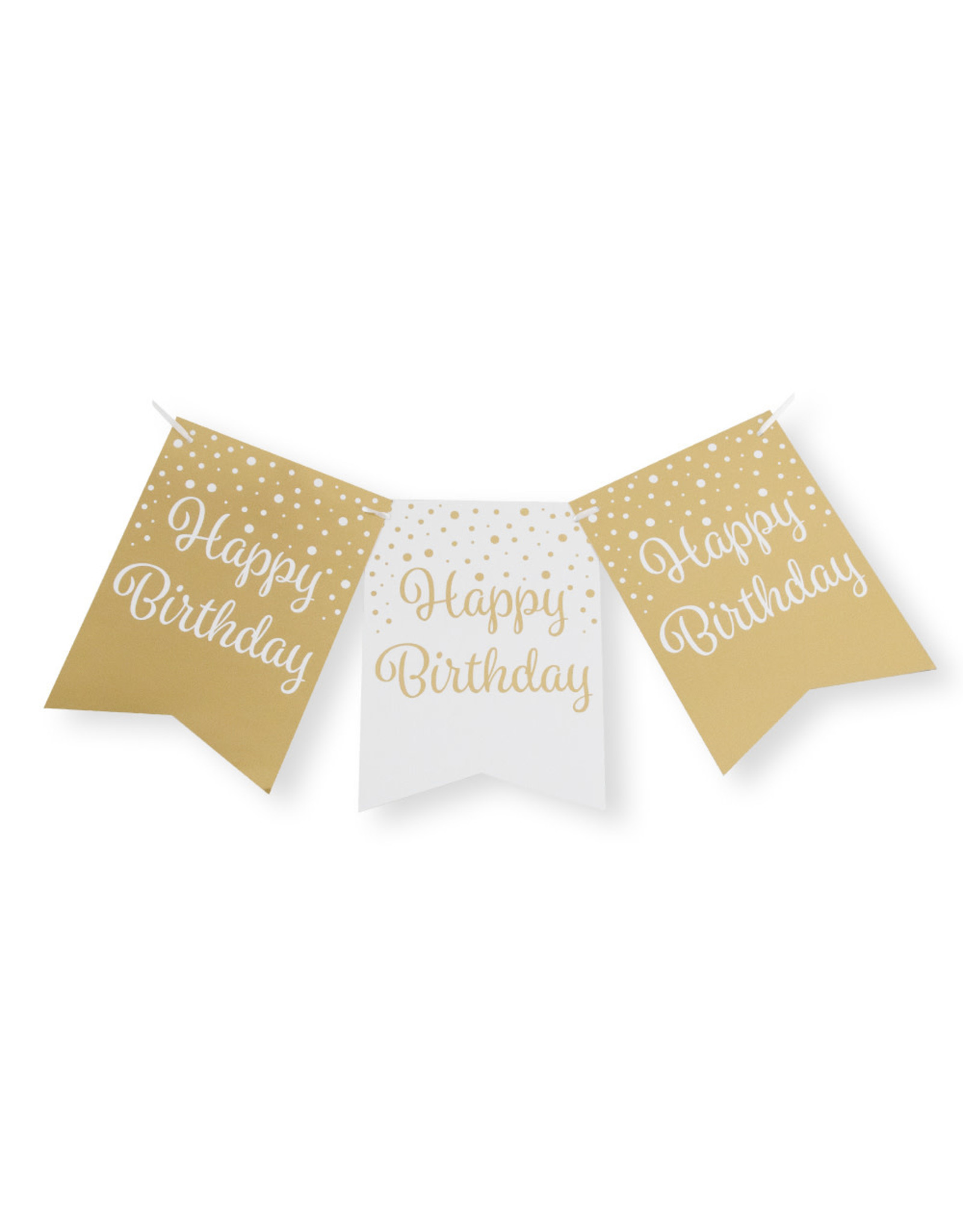 Party flag banner gold & white happy birthday 6 meter
