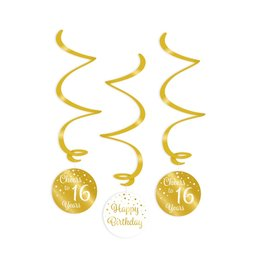 Swirl decorations gold & white cheers to 16 years 3-delig