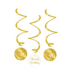 Swirl decorations gold & white cheers to 40 years 3-delig