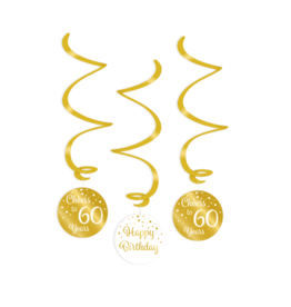 Swirl decorations gold & white cheers to 60 years 3-delig