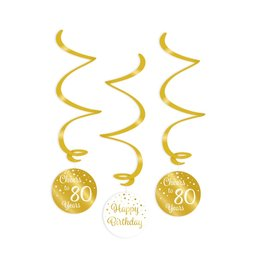 Swirl decorations gold & white cheers to 80 years 3-delig
