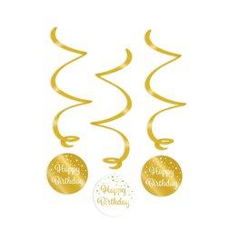 Swirl decorations gold & white happy birthday 3-delig