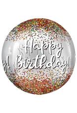 Amscan folieballon orbz happy birthday see-thru 38 x 40 cm