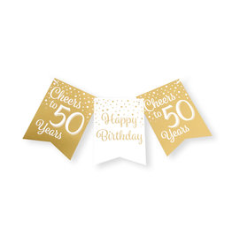 Party flag banner gold & white cheers to 50 years 6 meter